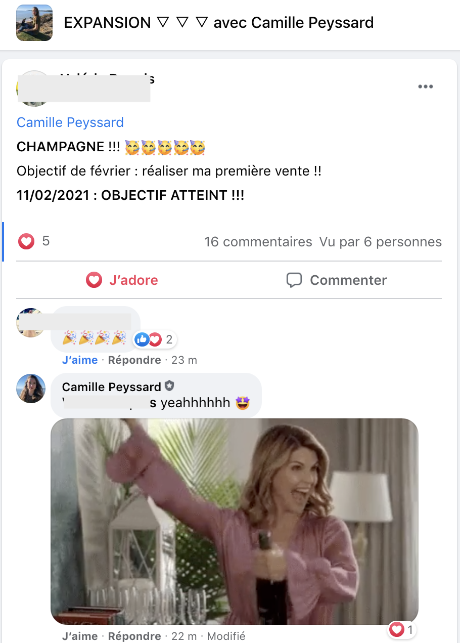 Champagne première vente Valérie